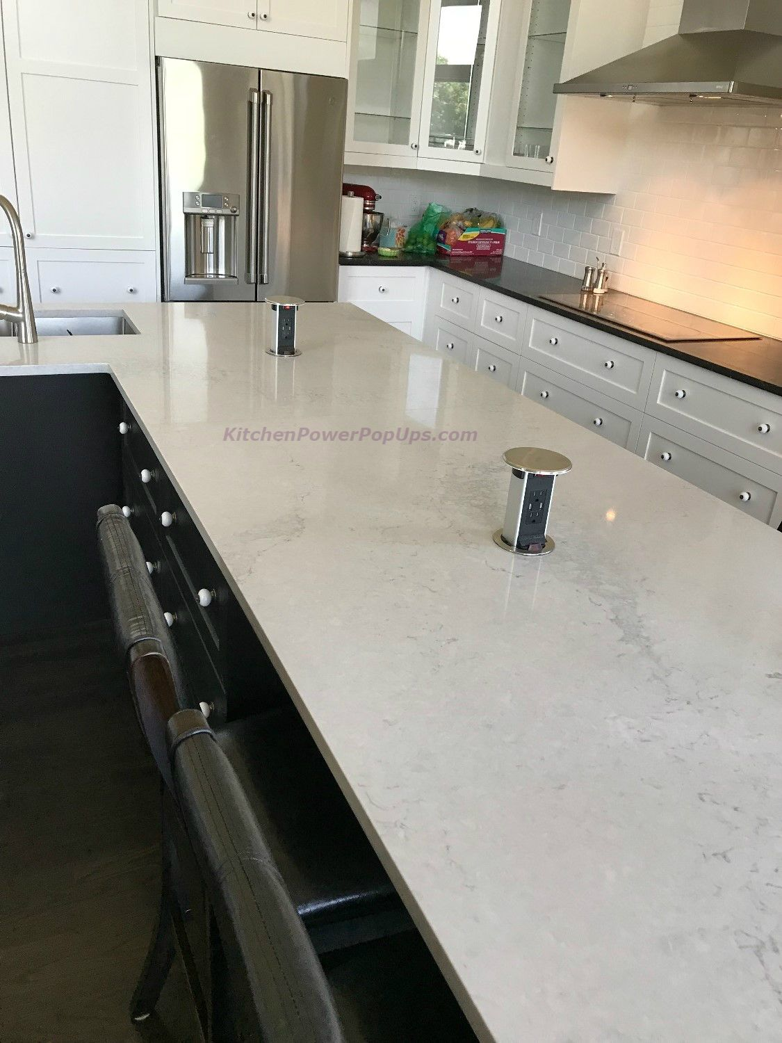 Installing Stainless Steel Countertops Kitchen Counter Spill Proof Round Pop Up 15a Usb Outlet Stainless