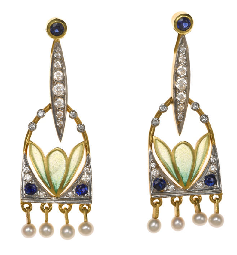 A pair of plique-à-jour enamel, diamond, sapphire and seed pearl earrings, Masriera  signed Masriera, no. C-1486-C; accompanied by a certificate of authenticity and signed box; mounted in eighteen karat gold; length: 1 5/8in.