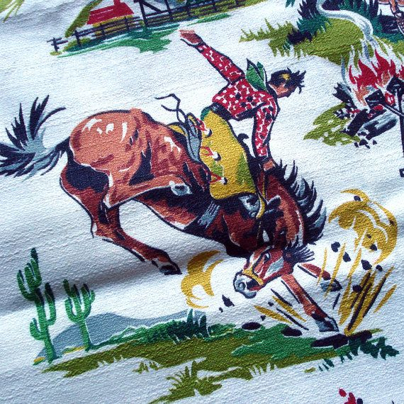 1950s Vintage Barkcloth Fabric Western Cowboy Print