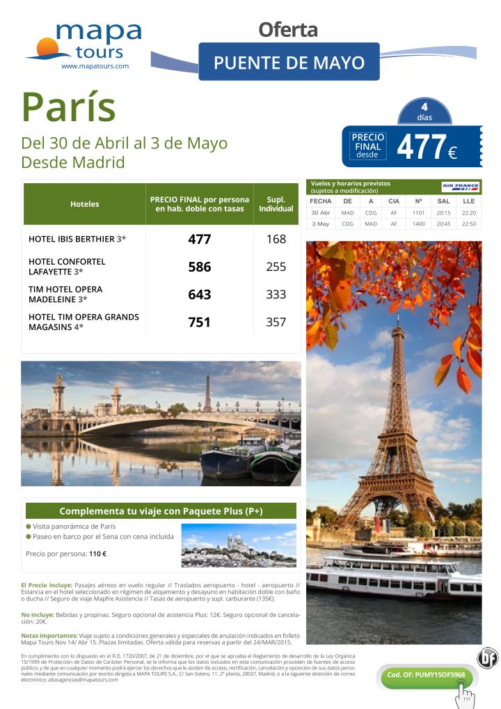 París Puente de Mayo salida Madrid **Precio Final desde 477** ultimo minuto - http://zocotours.com/paris-puente-de-mayo-salida-madrid-precio-final-desde-477-ultimo-minuto-3/