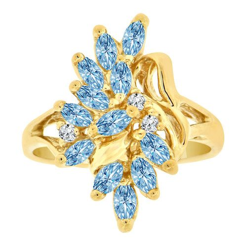 14k Yellow Gold, Classic Leaf Design Cluster Ring Mar Birth Color Cubic Zirconia (R201-103)