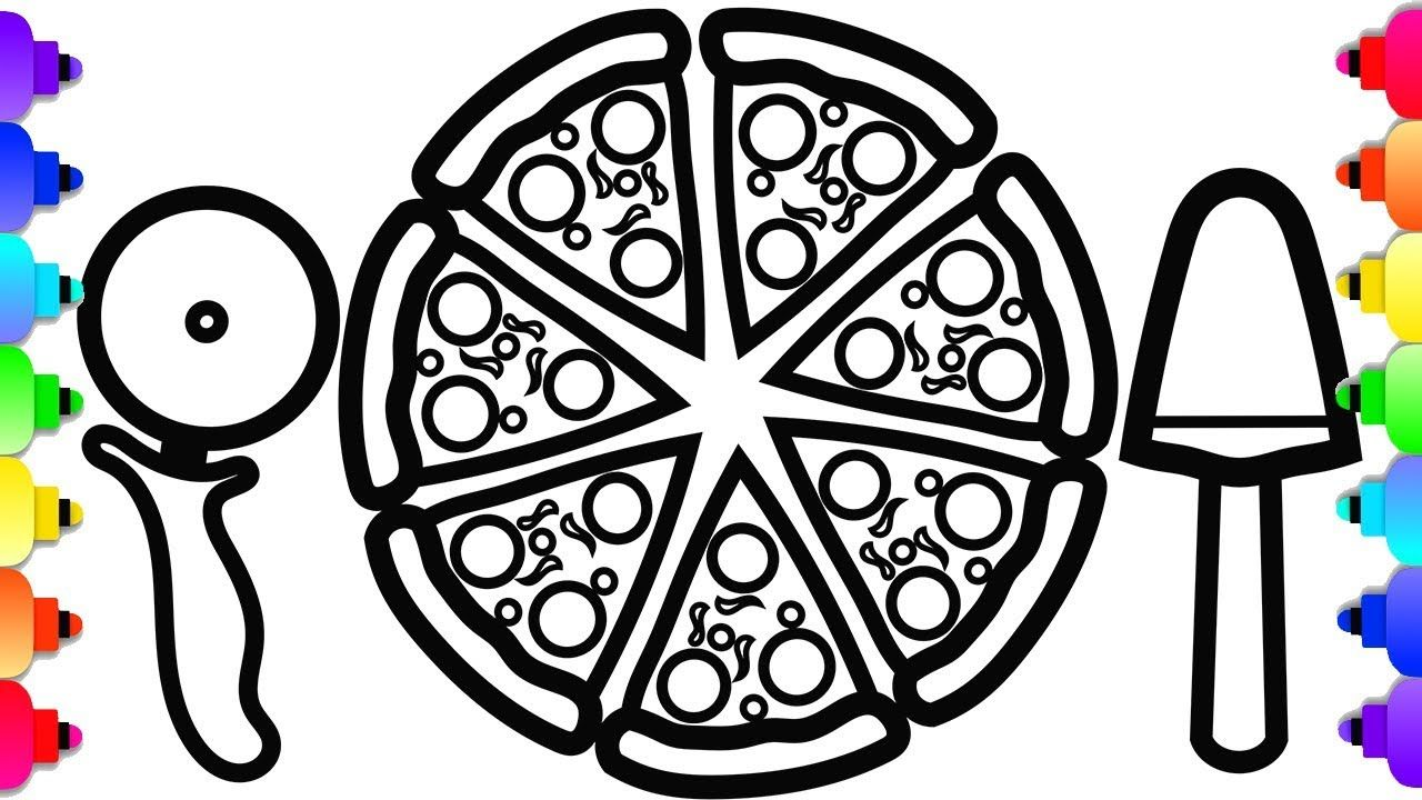 Glitter Pizza Drawing And Coloring For Kids Toddlers Yummy Pizza Co Printable Coloring Book Pizza Coloring Page Coloring Pages [ 720 x 1280 Pixel ]