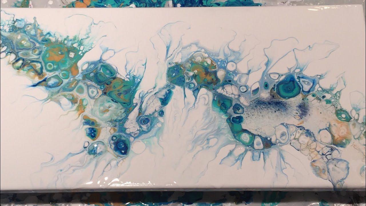 55 Acrylic Pour Flip And Drag With Gold Aqua Green And Pthalo Blue Acryl Kunst Acryl Malen Acrylgiessen