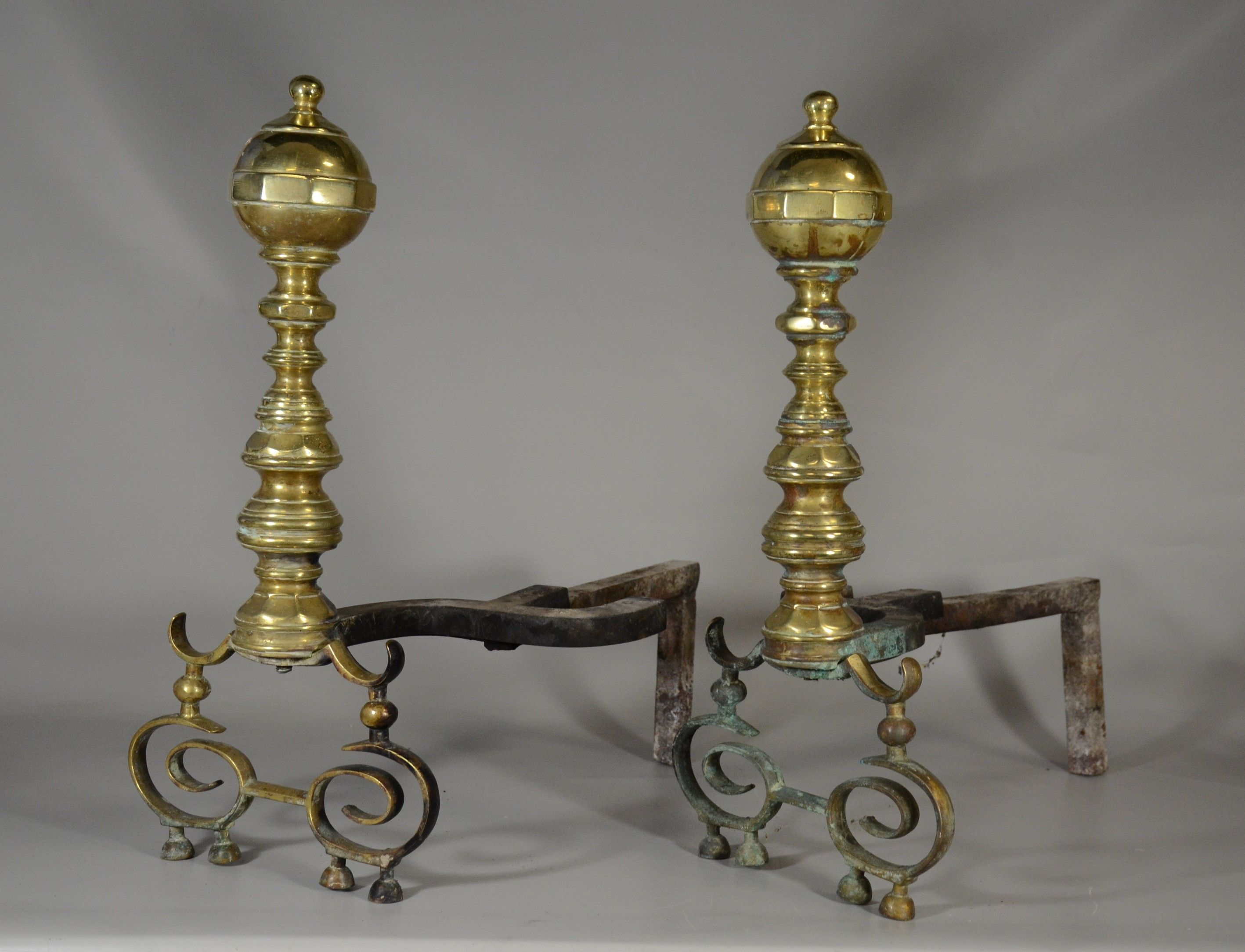 Lot 2322 Pair Of Antique Brass Fireplace Andirons Fireplace