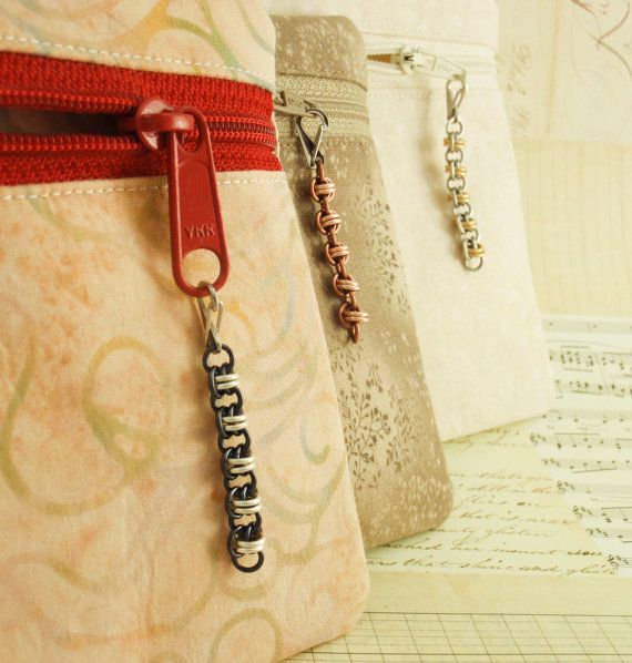 Custom Zipper Pulls - The Functional Side of Chainmaille - Your Pick of Colors. $12.00, via Etsy.