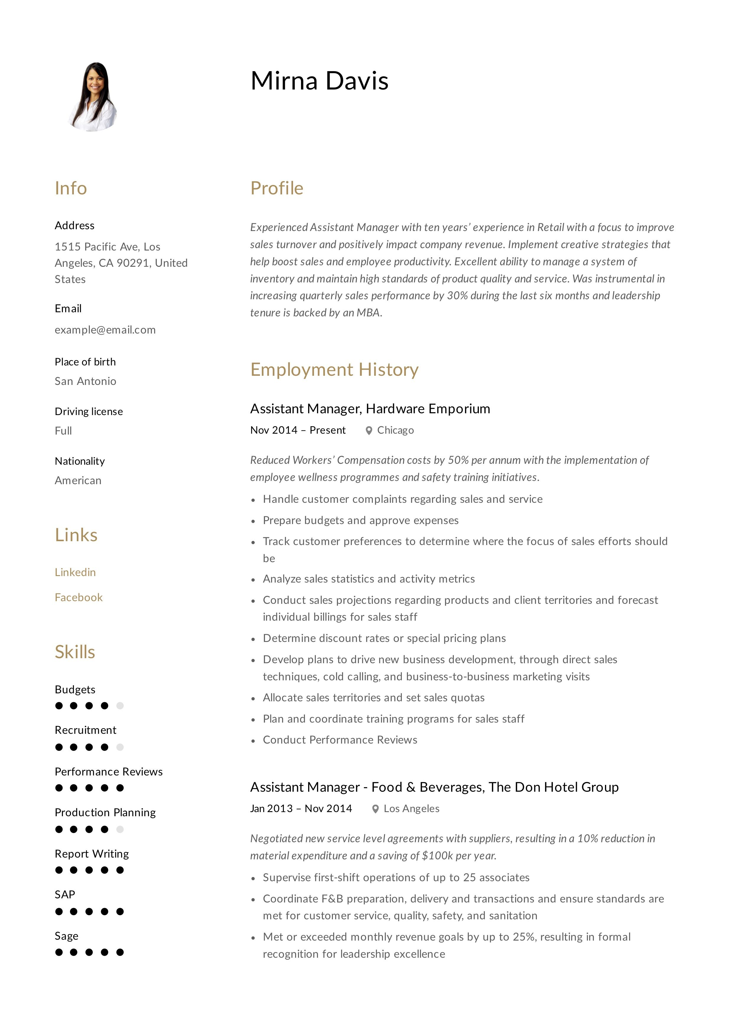 assistant manager resume  writing guide in 2020  manager