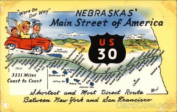 Map Of US In Nebraska Road Trip USA Pinterest Road Trips - Us highway 30 map