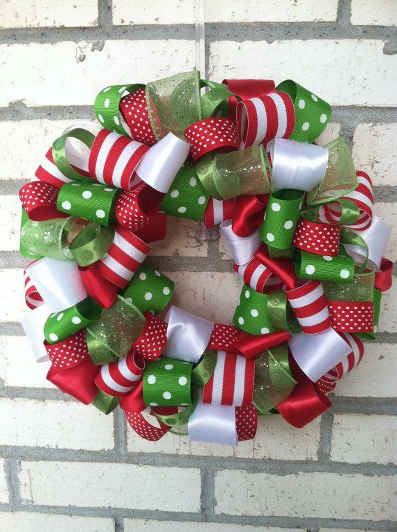 Ribbon Wreath Christmas Wreaths Xmas Wreaths Christmas Ribbon