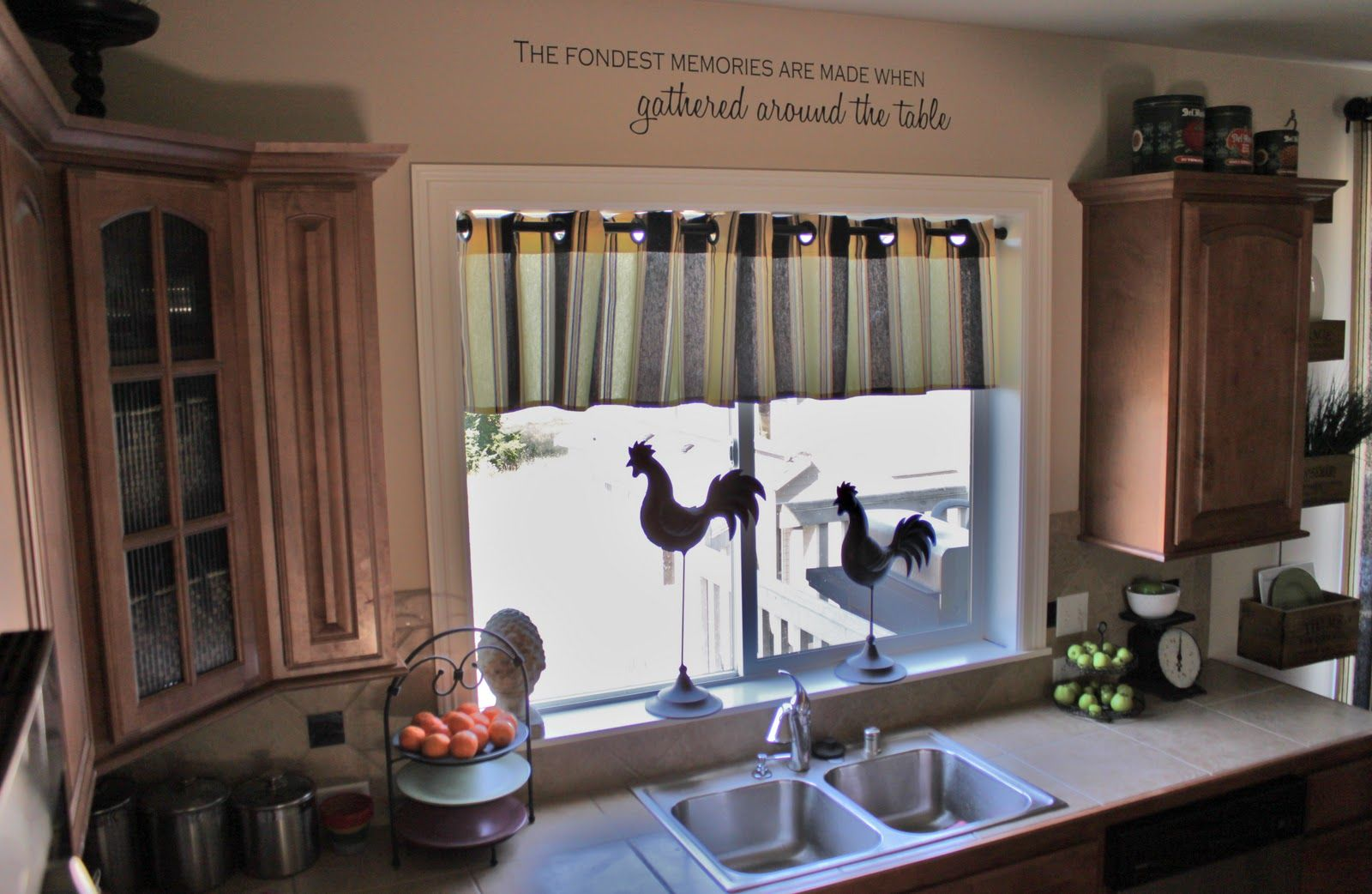 Classic Kitchen Designing Ideas With Floating Wooden Cabinet And Third  Stripes Curtain Covering Window