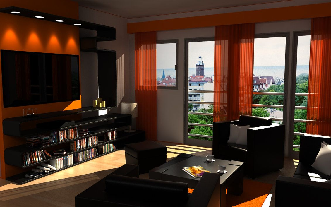 Living Room Exotic Small Ideas With Orange Wall Color And Curtain Dark Chairs Bookselft Design How To Decorate A
