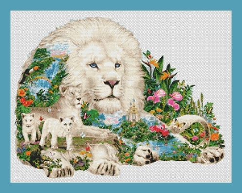 White Lion Family Counted Cross Stitch by InstantCrossStitch