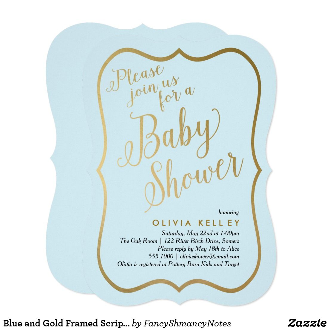 Blue and gold framed script boy baby shower card this trendy baby blue and gold framed script boy baby shower card this trendy baby shower invitation features faux gold glitter foil fill in your information on the filmwisefo