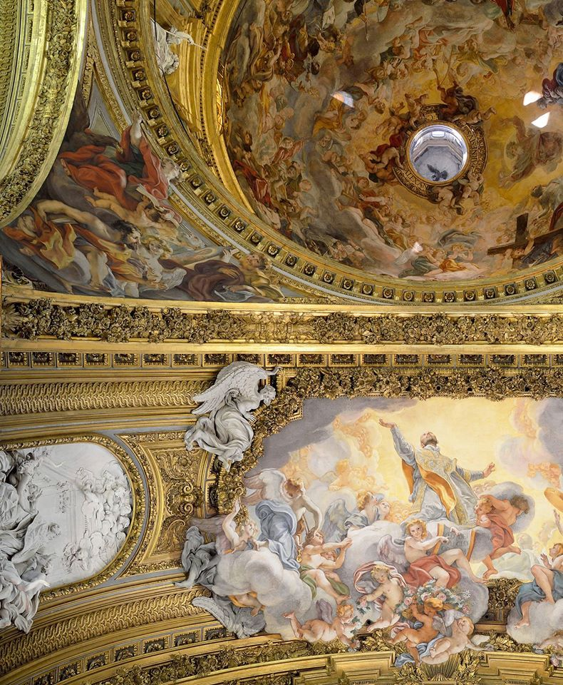 """Ceiling detail (""""The Glory of St. Ignatius of Loyola"""") of the Church of the Gesù. Rome, Italy."""