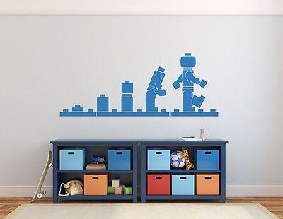 Great Wandbild LEGO Man Evolution Wand Sticker Jungen Kammer Kinderzimmer