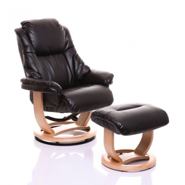 Furniture Brilliant Black Leather Recliners Chair And Ottoman On