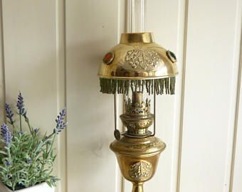 Art nouveau oil lamp parisienne jewelled shade brass oil lamp table art nouveau oil lamp parisienne jewelled shade brass oil lamp table lamp antique lamp french vintage aloadofball Image collections