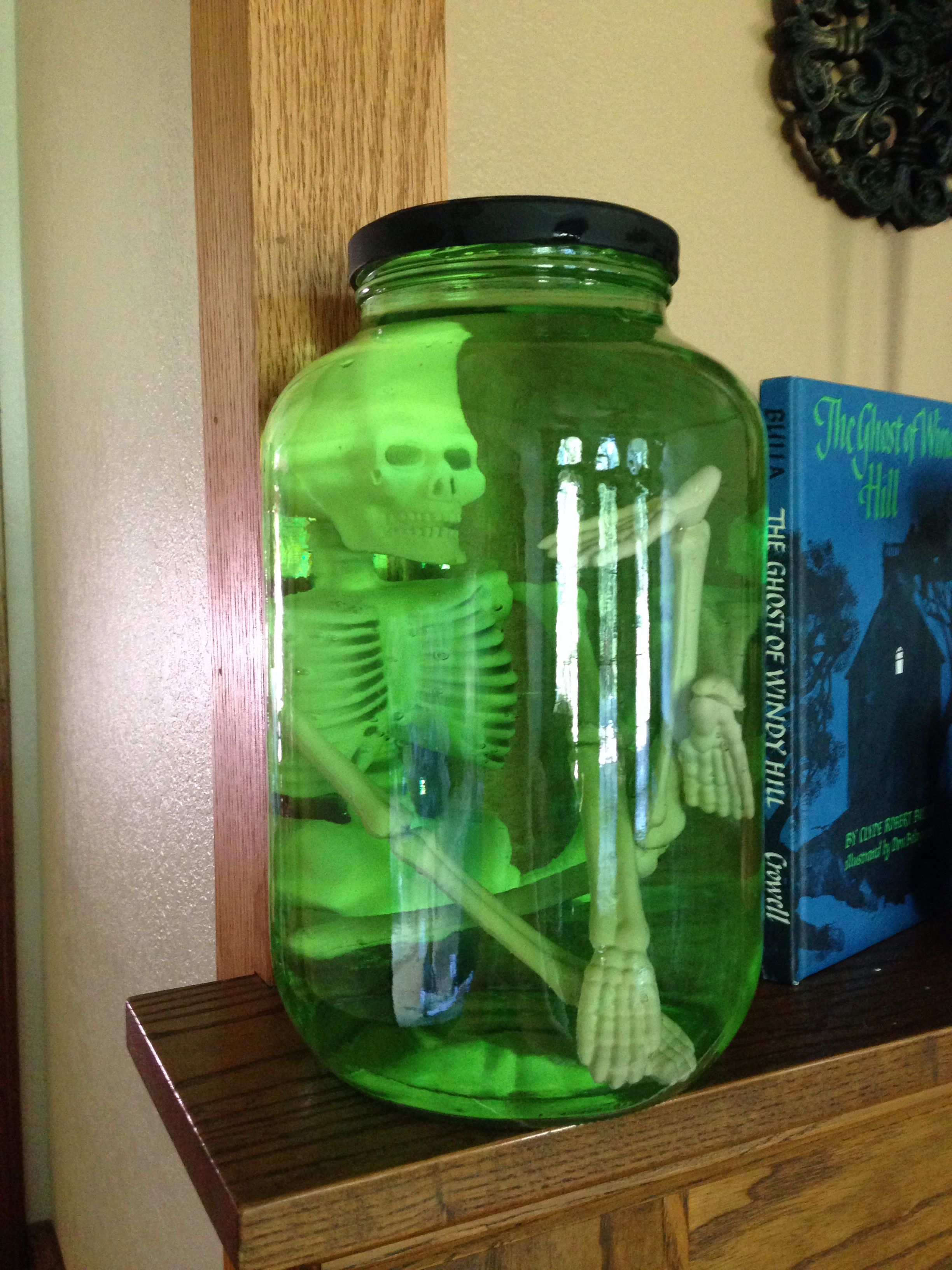 Big jar. Small skeleton (Dollar Tree). Green water. | Halloween ...