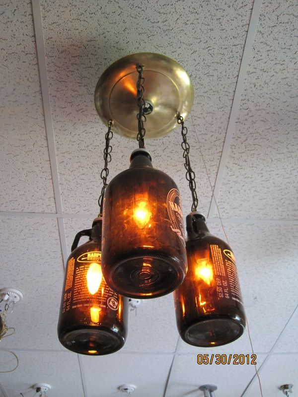 steampunk lamps for growlerlamp com light in its three growler night three light hard wired fixture by arrow lake yes i put this in the for my belly section how else should i get the empty growlers