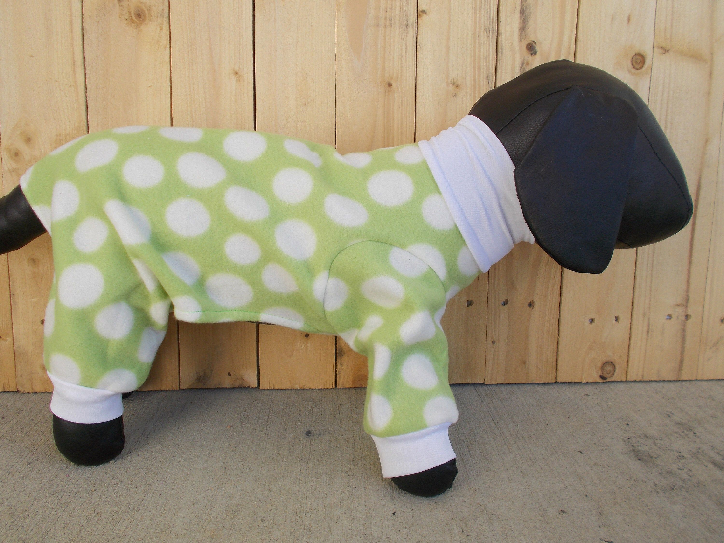 New Fleece Green With White Dots Dog Pajamas Clothing Xs S