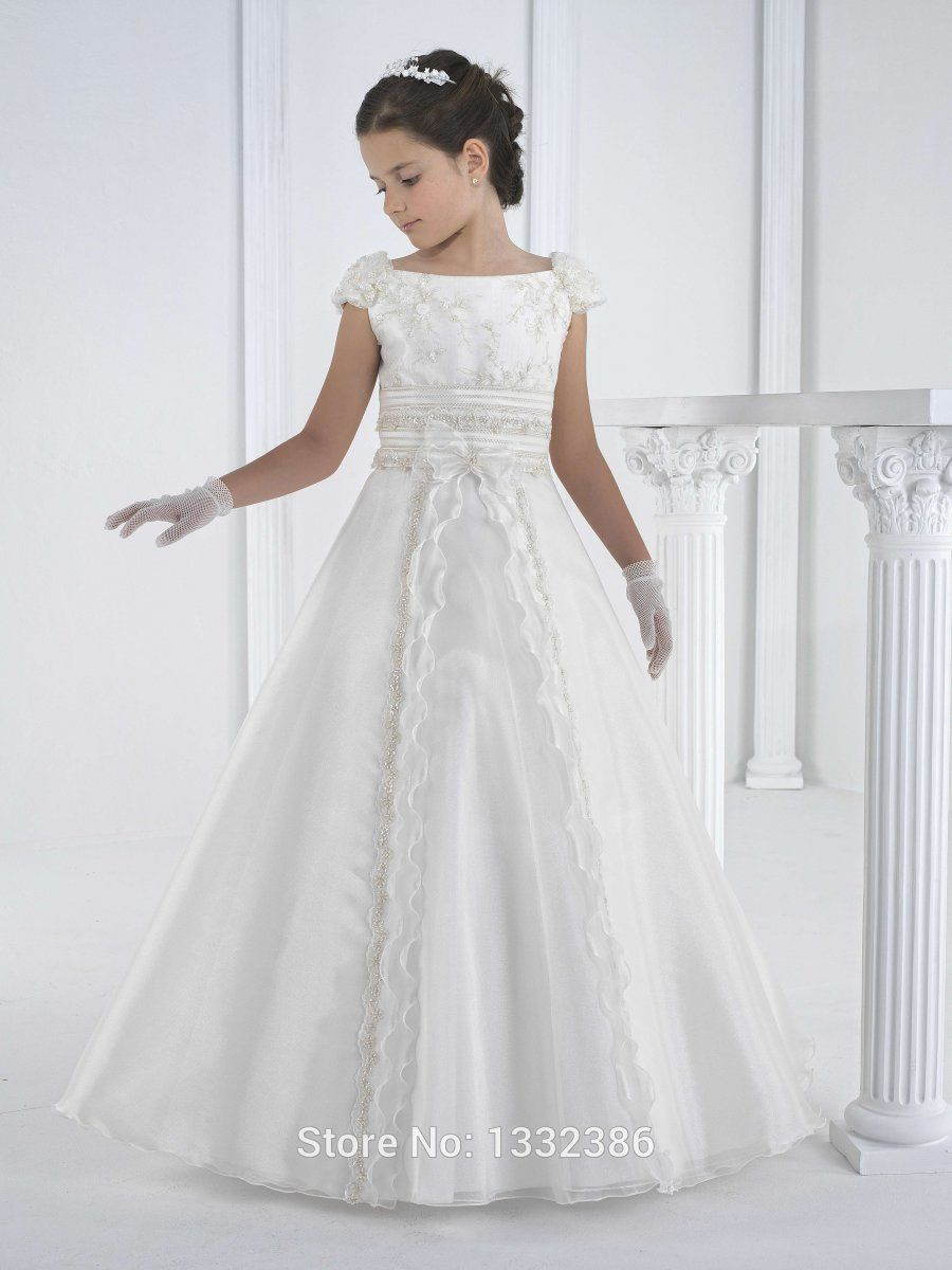 ce17c3b16ed White First Holy Communion Dress Gown For Girls With Cap Sleeves. Lovely  with plenty of detail and yet not too