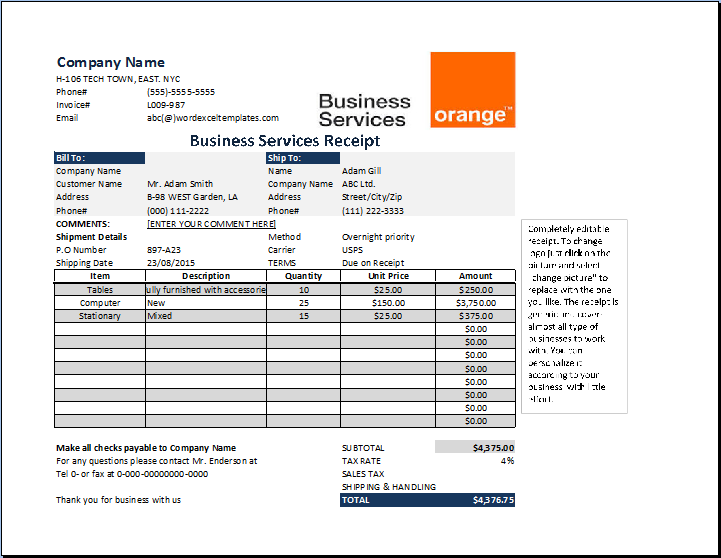 Business Services Receipt Template At ReceiptsTemplatesCom