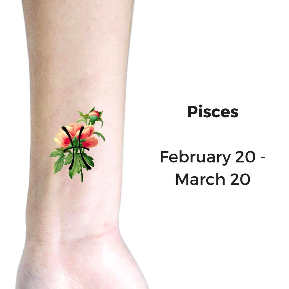 Henna Tattoo Zodiac Signs: Pisces Temporary Tattoo, Horoscope Of Flowers: Pisces
