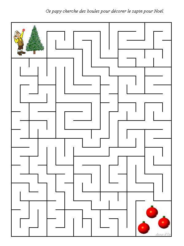 labyrinthe noel | Noel, Jeux coloriage, Activités intérieures pour les enfants