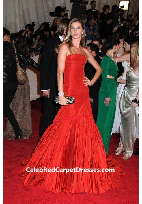 525f65b8b6b Gisele Bundchen Red Strapless Mermaid Prom Dress Met Gala 2011 ...