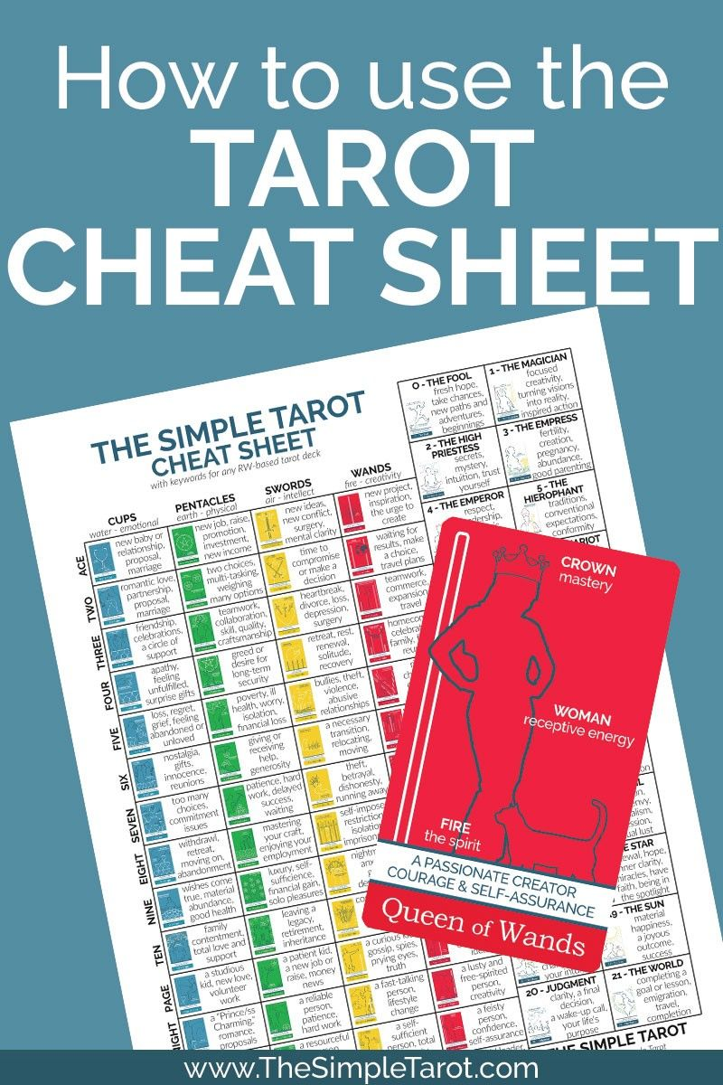 How to use the tarot card meanings cheat sheet tarot