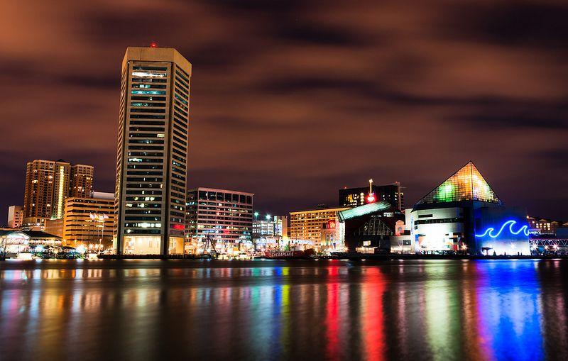 The Inner Harbor Skyline at Night, Baltimore, MD.