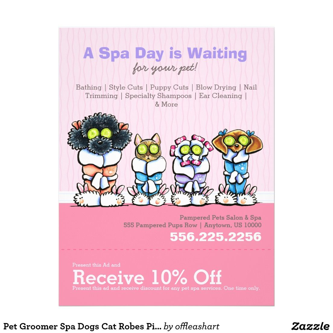 Pet Groomer Spa Dogs Cat Robes Pink Coupon Ad Flyer Zazzle Com
