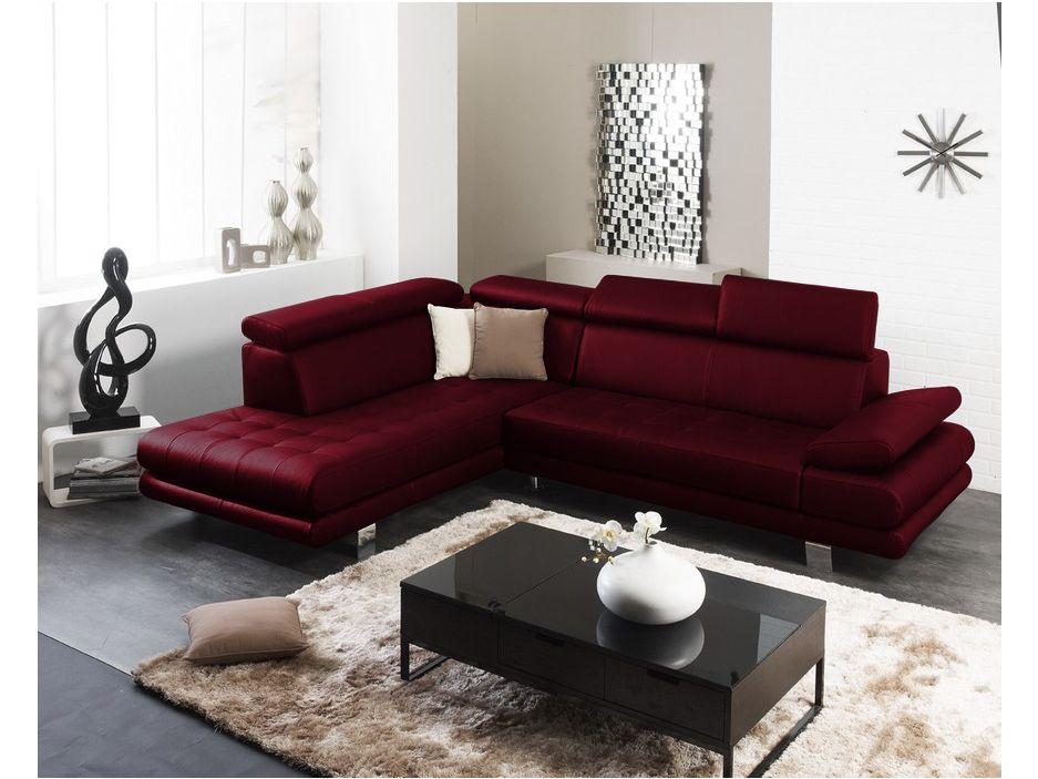 Canap d 39 angle cuir luxe italien effleurement rouge angle gauche caf pinterest rouge - Canape rouge bordeaux ...