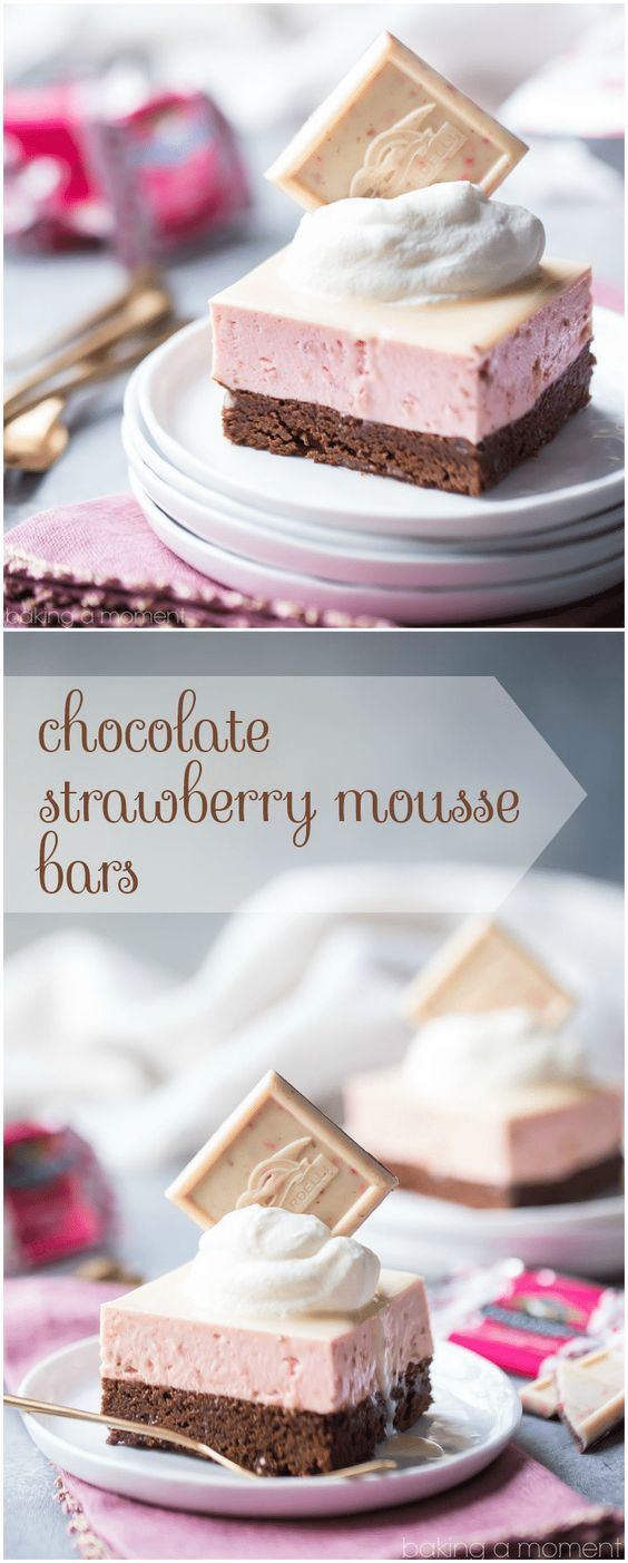 Chocolate Strawberry Mousse Bars: layers of nearly-flourless chocolate torte and airy strawberry mousse, topped with a white chocolate glaze. Whisper-light and so pretty! #food #desserts #chocolate #strawberry #valentinesday #pink #mousse via @bakingamoment