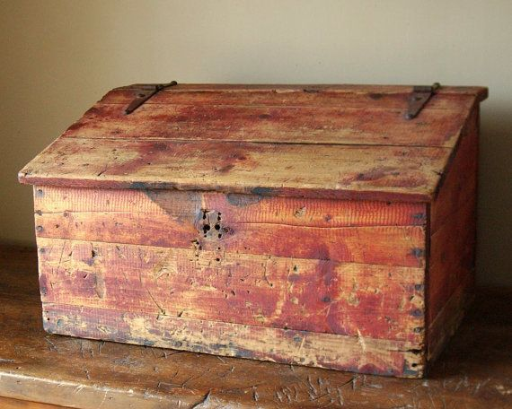 Primitive Red Stained Document Box Wooden Toy Chest Toy Chest Bench Old Wooden Boxes