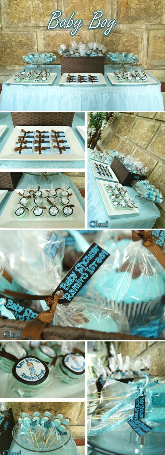 Baby boy dessert table blue and brown color palette for Mesa de dulces para baby shower nino