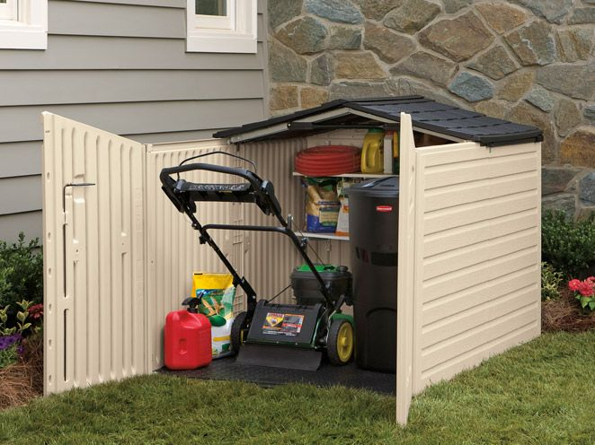 Rubbermaid Slide Lid Storage Building Has A Low Profile Designed To Meet Standard Fence Height Requi
