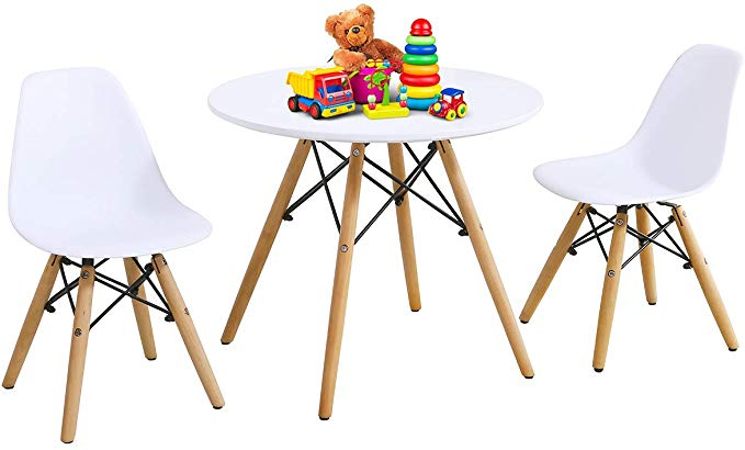 Amazon Com Costzon Kids Table And Chair Set Kids Mid Century Modern Style Table Set For Toddler Kids Table Chair Set Kids Table And Chairs Kids Dining Table