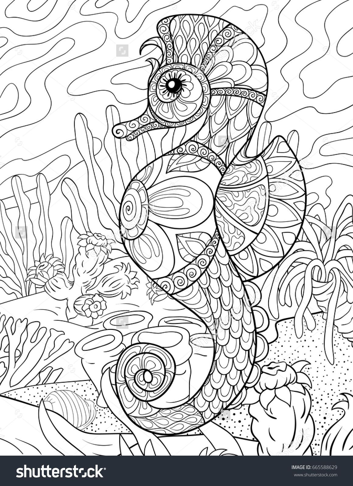 Adult coloring page,book a seahorse with background.Zen