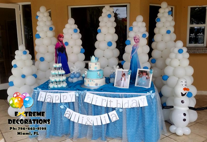 Frozen party decorations Cake table balloon trees www
