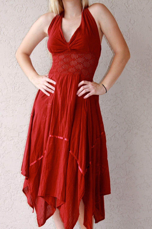 9afe72457c Gypsy Handkerchief Dresses | Vintage 70s red gauze gypsy handkerchief dress.  very Stevie Nicks