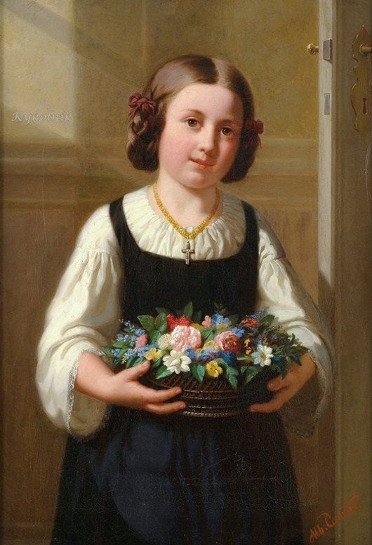 Flower Girl by German Painter Albert Conrad 1837-1887 http://bjws.blogspot.co.nz/2012/08/mostly-victorian-flower-sellers.html