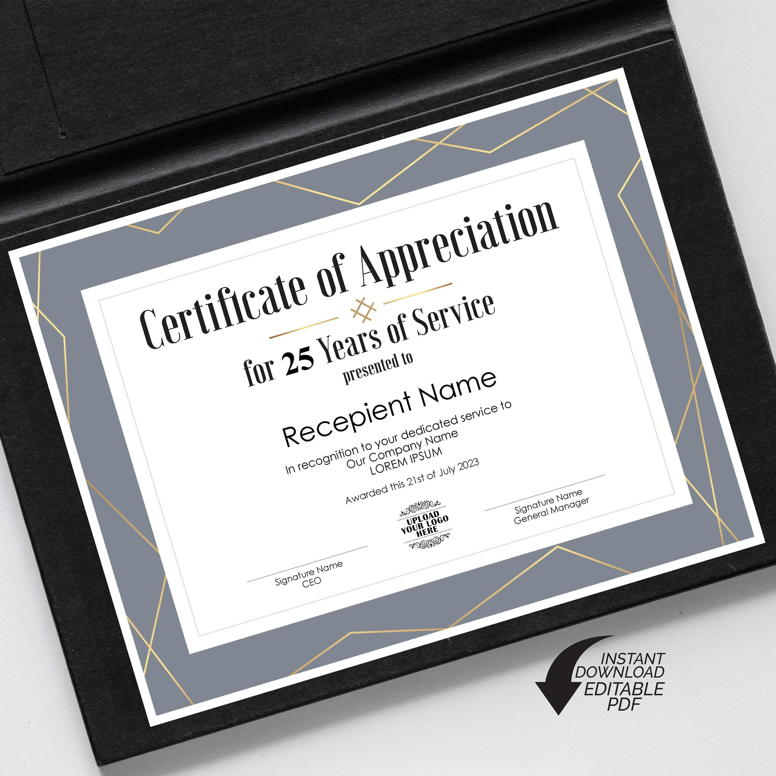 Editable Years Of Service Certificate Of Appreciation Etsy In 2021 Editable Certificates Certificate Of Appreciation Certificate Certificates for years of service