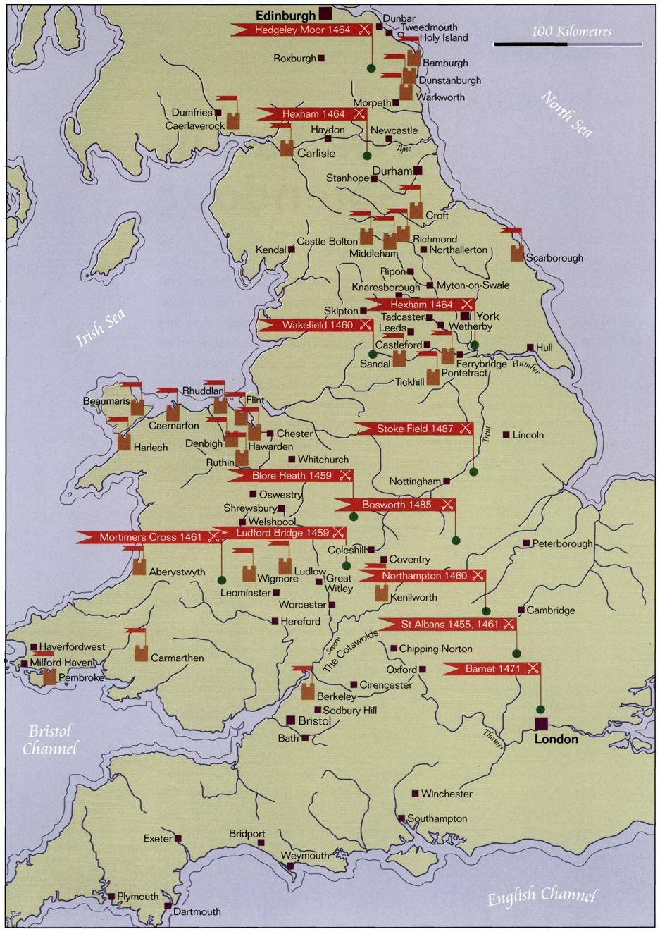Map Of England Lancaster.Map Of The Battles Of The Wars Of The Roses War Of The Roses