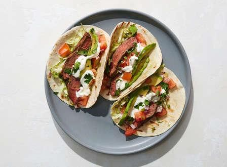 Carne Asada Tacos with Pico de Gallo, Avocado, and Lime Crema #asadatacos