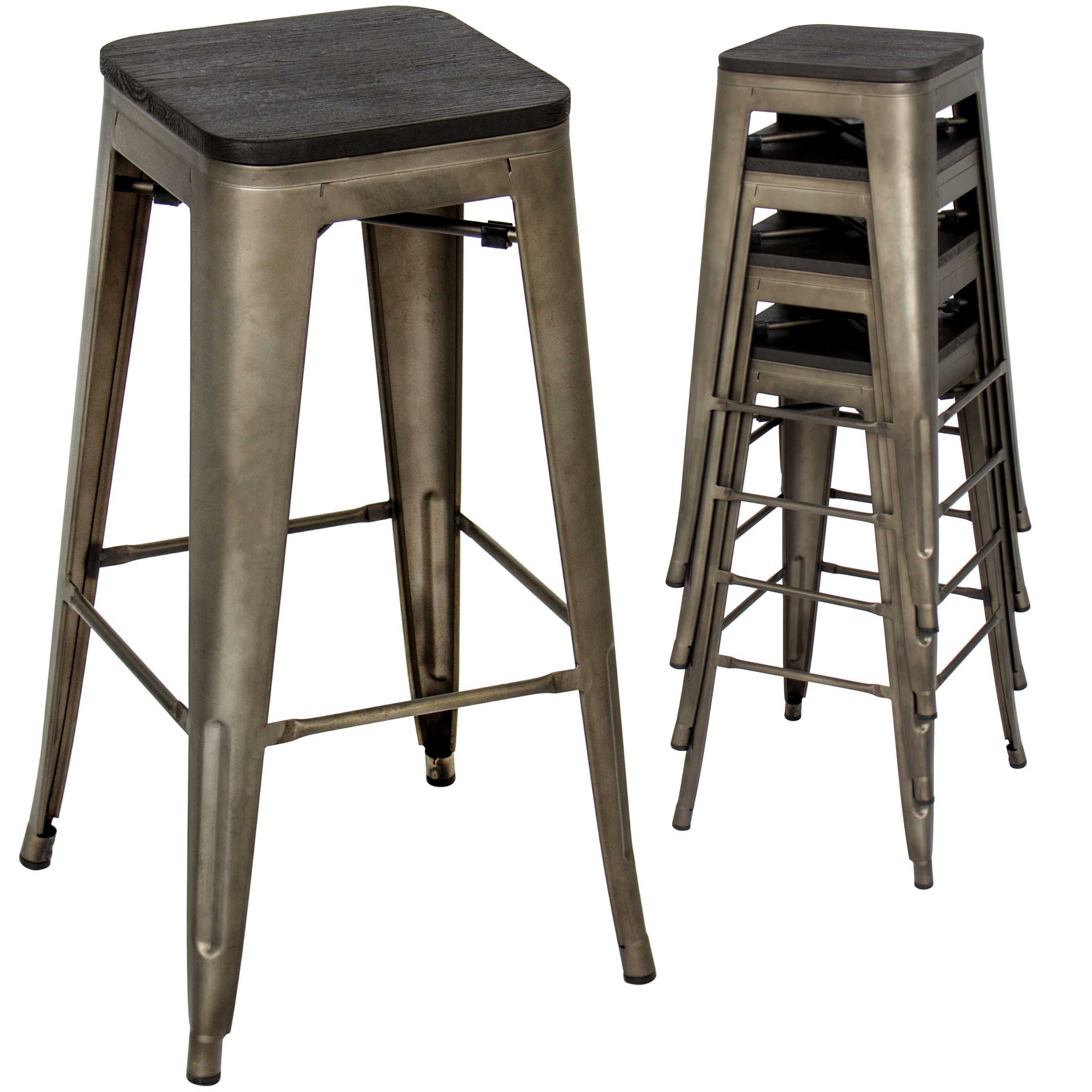 Best Choice Products Set Of 4 All Weather 30in Stackable Backless Steel Bar Height Stools W Wooden Seats Bronze Walmart Com Steel Bar Stools Bar Stools Cool Bar Stools