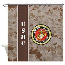 USMC Desert Camo Marpat Shower Curtain For A Marine Corps Theme Bathroom Mom