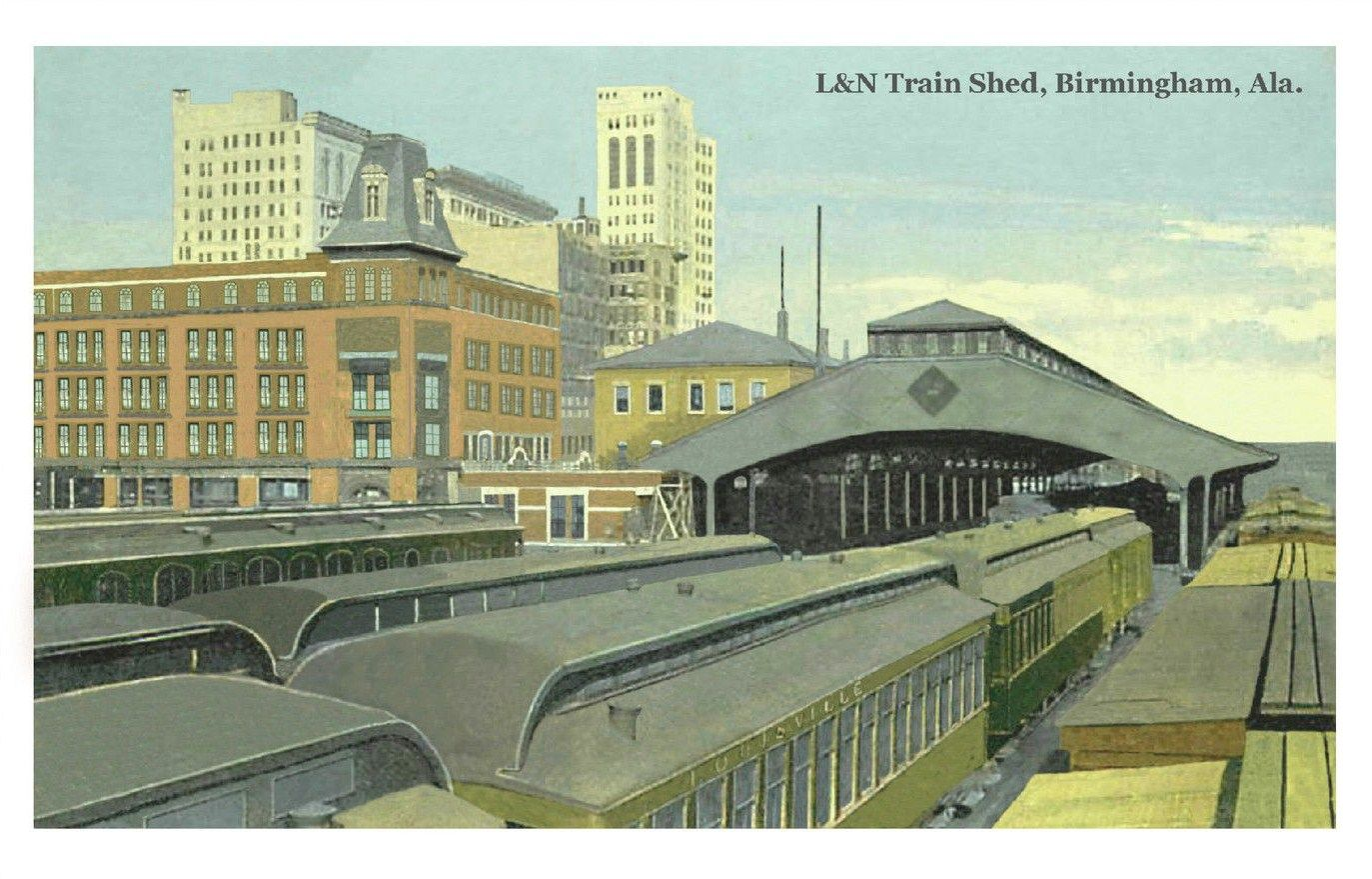 Postcard with L&N RR depot in Birmingham, AL