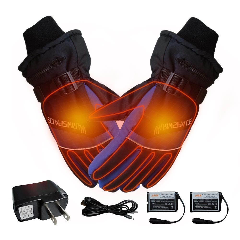 Usb Heated Gloves Winter Thermal Hand Warmer Electric Heating Glove Battery Powered Thermal Waterproof For Motorcycle Ski Gloves In 2020 Hand Warmers Heated Gloves Gloves Winter