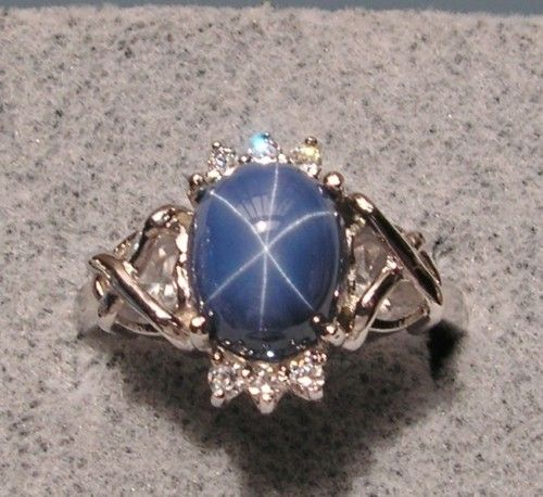 Vintage Linde Lindy Cf Blue Star Sapphire Created Rhodium