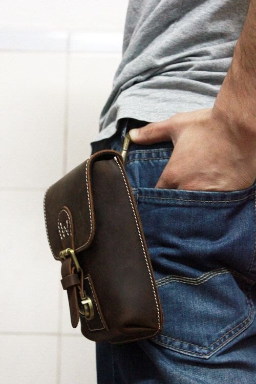 Mens Waist Bag Hip Bag Handmade Thick Leather Pouch Fanny Rustic Pouch iPhone 5s Holder Leather Wallet Cellphone Case on Etsy, $55.00
